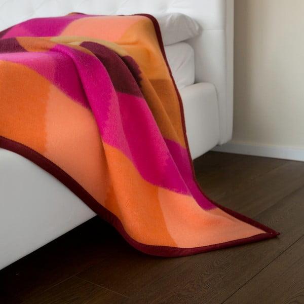 Vlnená prikrývka  Emilia 210x250 cm, oranžová