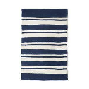 Modrý bavlnený ručne tkaný koberec Pipsa Navy Stripes, 60×90 cm