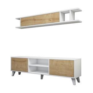 Set bieleho TV stolíka a nástennej police s detailmi v dekore borovicového dreva Muzzo Italo