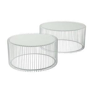 Sada 2 bielych odkladacích stolíkov Kare Design Wire Big