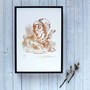 Plagát v drevenom ráme Alice in Wonderland Mad Hatter