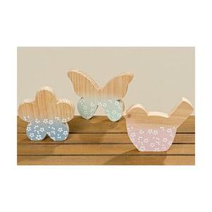 Sada 3 dekorácií z jedľového dreva Boltze Pastell Puro