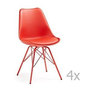 Sada 4 červených jedálenských stoličiek s kovovým podnožím La Forma Lars