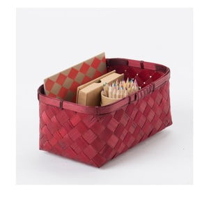 Červený bambusový úložný kôš Compactor Hanoi, 23 x 15 cm