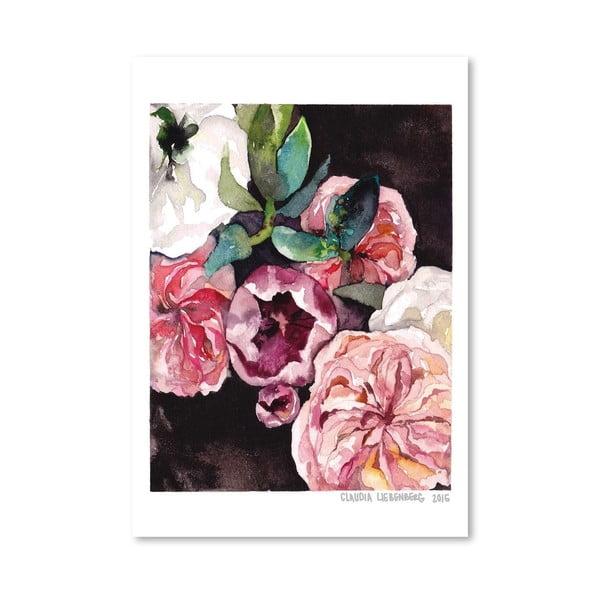 Plagát Blooms on Black IV, 30x42 cm