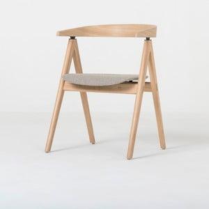 Jedálenská stolička z masívneho dubového dreva s čiernym sedadlom Gazzda Ava