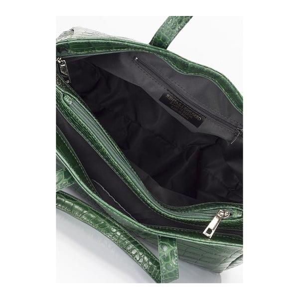 Zelená kožená kabelka Lisa Minardi Calf Crocco