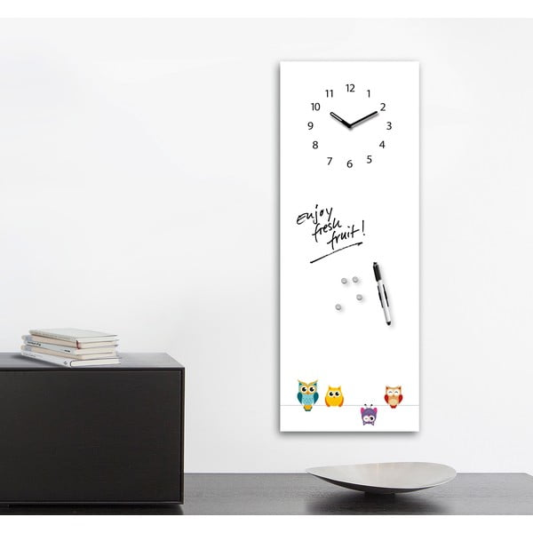 Magnetická tabuľa s hodinami Funny Owls, 30 x 80 cm