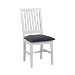 Biela brezová jedálenská stolička so sivým sedadlom Rowico Koster