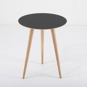 Príručný stolík z dubového dreva sčiernou doskou Gazzda Arp, Ø 45 cm
