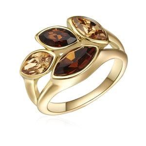 Prsteň v zlatej farbe s krištáľmi Swarovski Saint Francis Crystals Autumn Leaf, veľ. 60