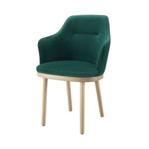 Tmavozelená stolička s opierkami na ruky a nohami z dubového dreva Wewood - Portugues Joinery Sartor