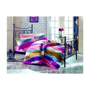 Fialové bavlnené obliečky s plachtou na dvojlôžko Magenta, 200×220cm
