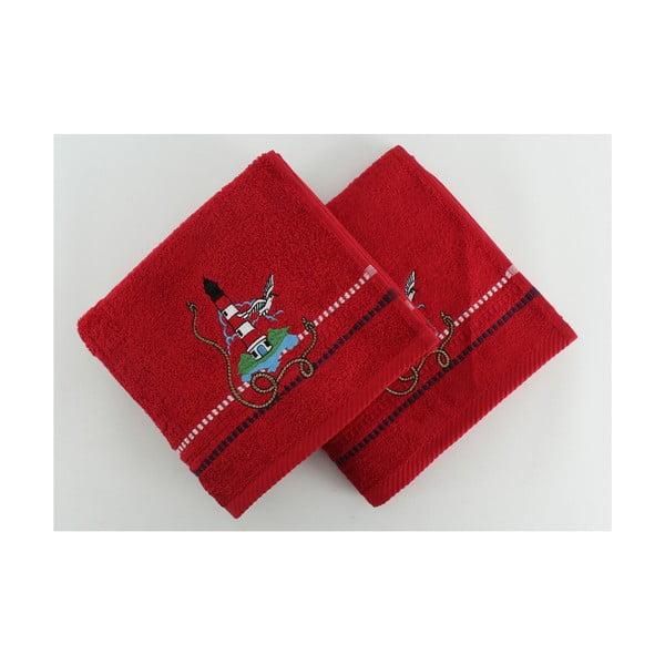 Sada 2 uterákov Marina Red Feneri, 50x90 cm