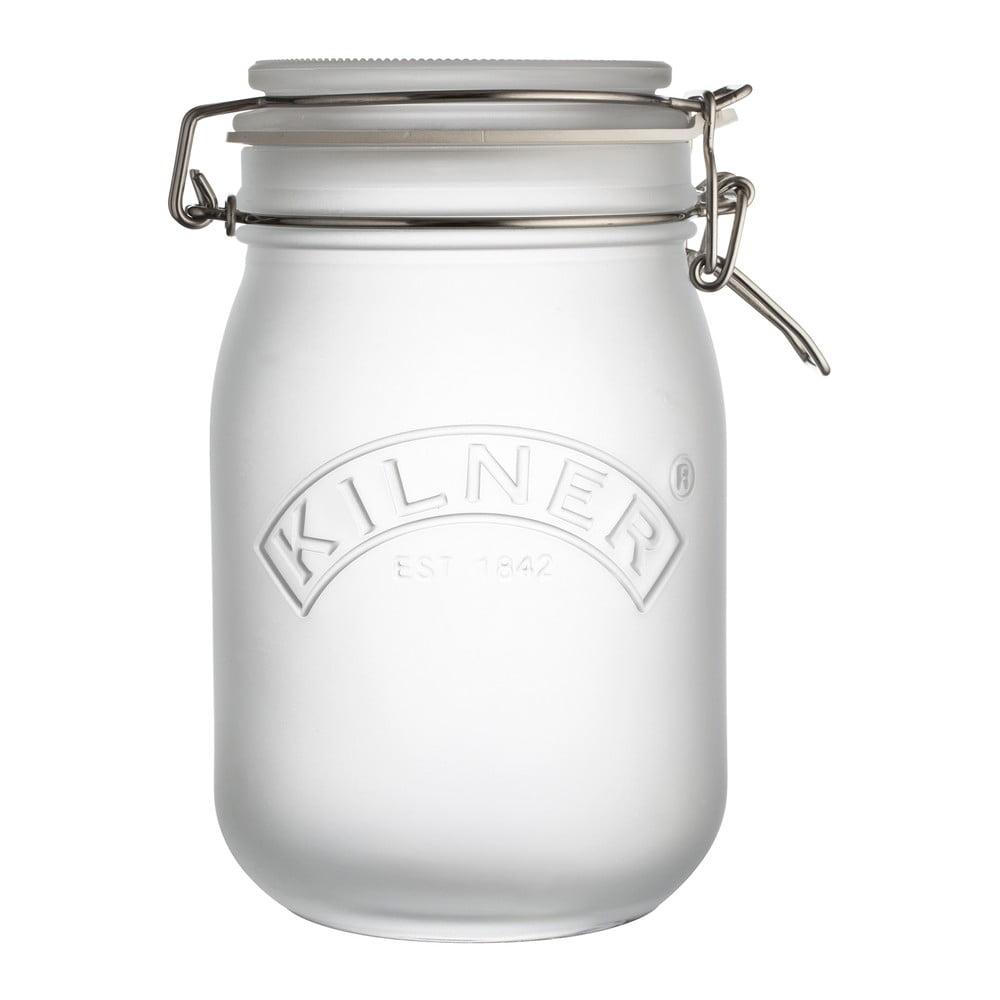 Mliečnobiely pohár s klipom Kilner, 1 l