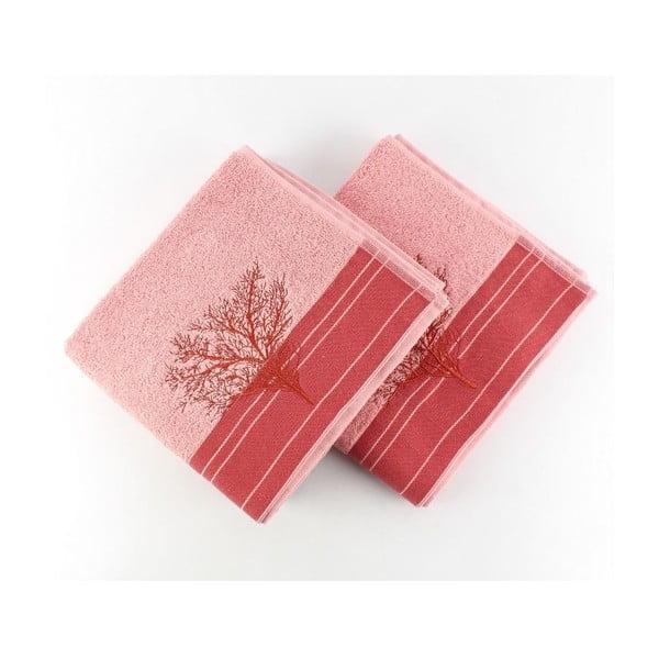 Sada 2 ružových uterákov Infinity, 50x90 cm