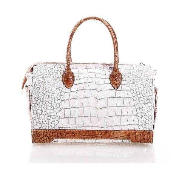 Kožená kabelka Livie, biela/hnedá
