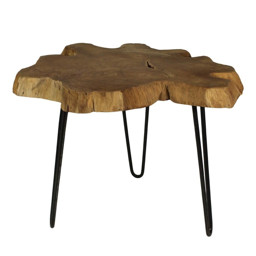 Odkladací stolík z teakového dreva HSM Collection Bollei, ⌀ 55 cm