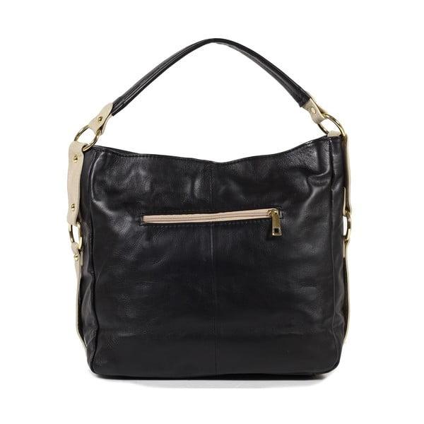Kožená kabelka Linda, čierna/béžová