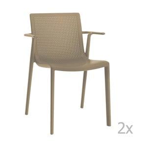 Sada 2 béžových záhradných stoličiek sopierkami Resol Beekat
