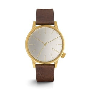 Pánske hnedé hodinky s koženým remienkom a bielym ciferníkom Komono Regal