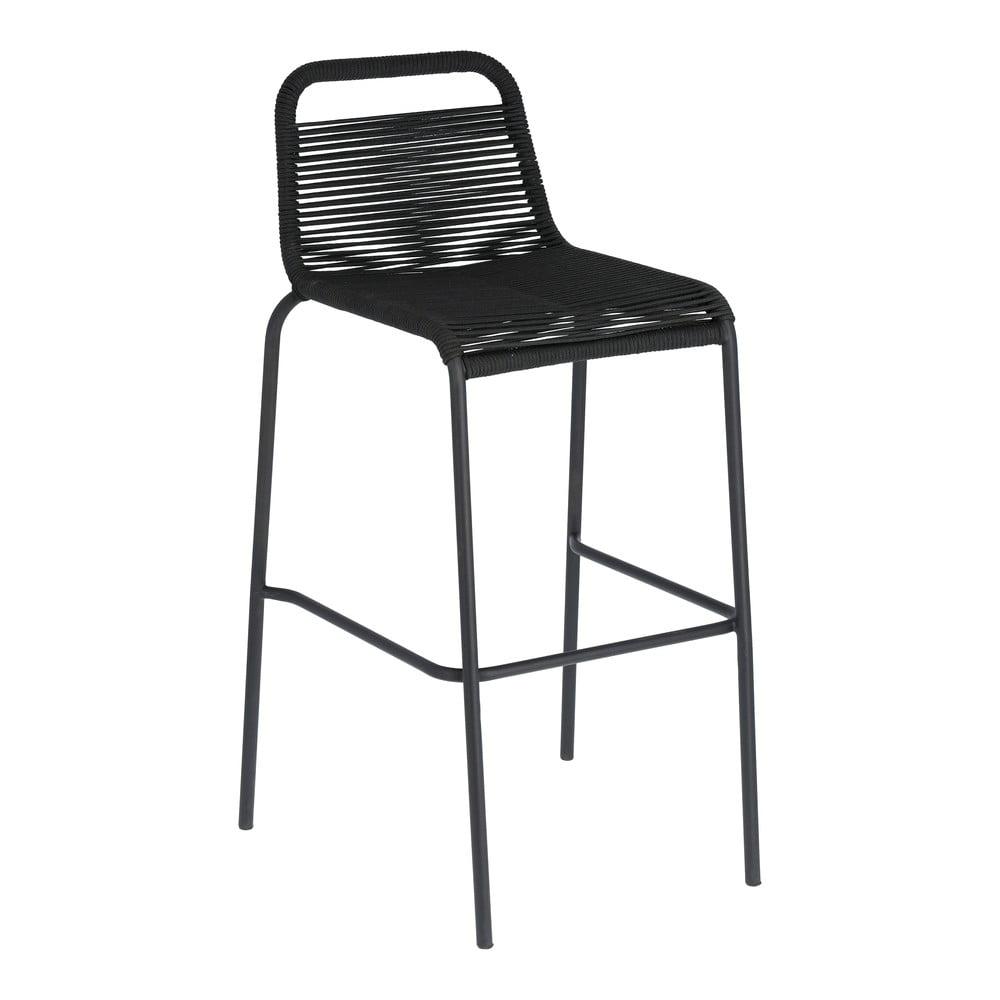 Čierna barová stolička s oceľovou konštrukciou La Forma Glenville, výška 74 cm