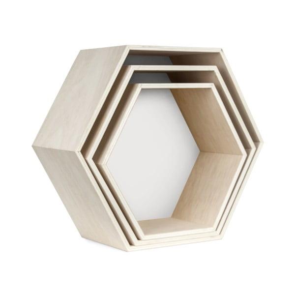 Sada 3 nástenných poličiek Hexagon, biela