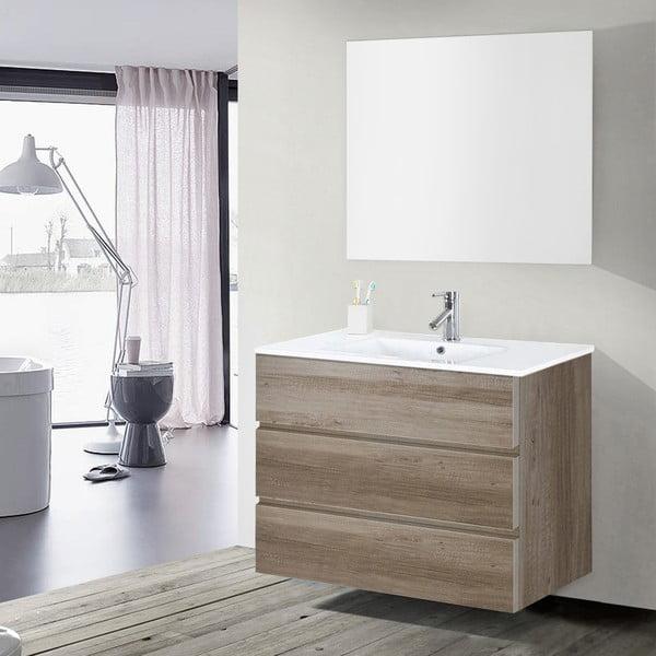 Kúpeľňová skrinka s umývadlom a zrkadlom Nayade, dekor dubu, 100 cm
