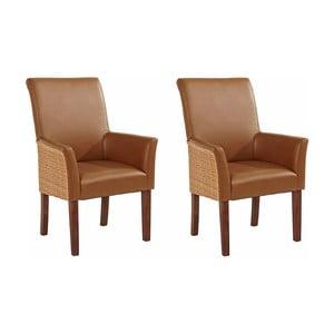 Sada 2 hnedých jedálenských stoličiek s opierkami Støraa Matrix
