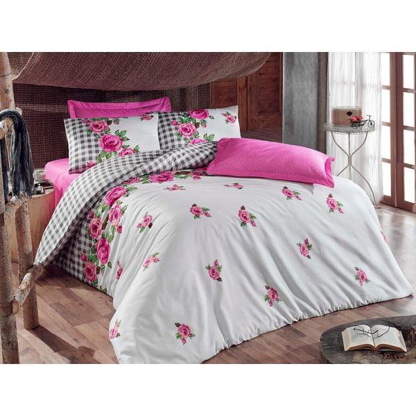 Ružové obliečky s plachtou Love Colors Florid, 200 x 220 cm