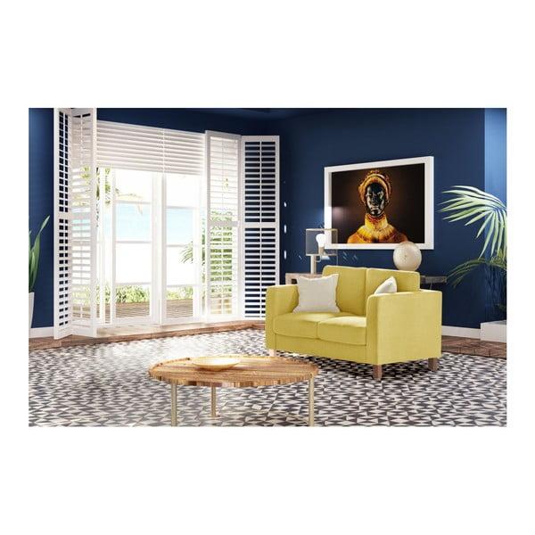 Žltá dvojmiestna pohovka s 2 krémovými vankúšmi Stella Cadente Maison Canoa