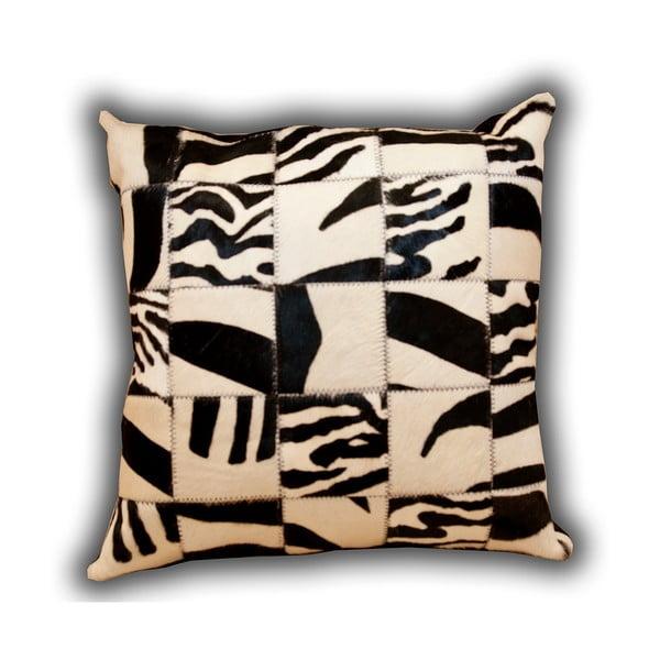 Vankúš z pravej kože Pipsa Zebra, 50×50cm