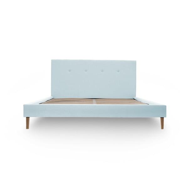 Pastelovomodrá posteľ VIVONITA Kent 140x200cm, prírodné nohy
