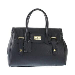 Čierna kožená kabelka Chicca Borse Ladonna