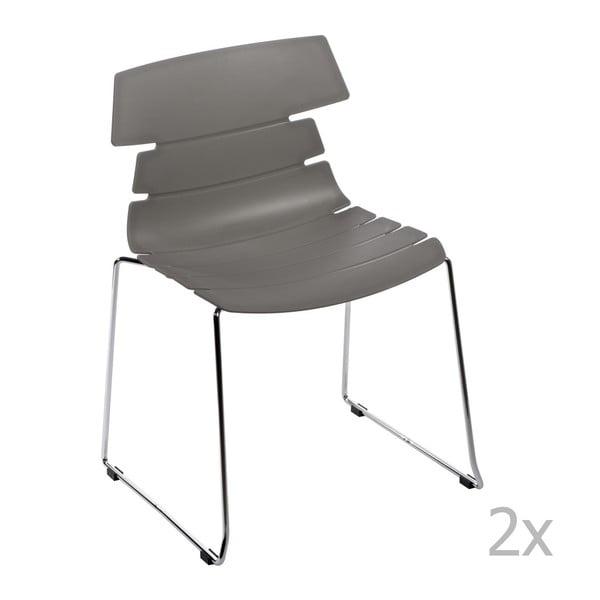 Sada 2 stoličiek D2 Techno, sivé