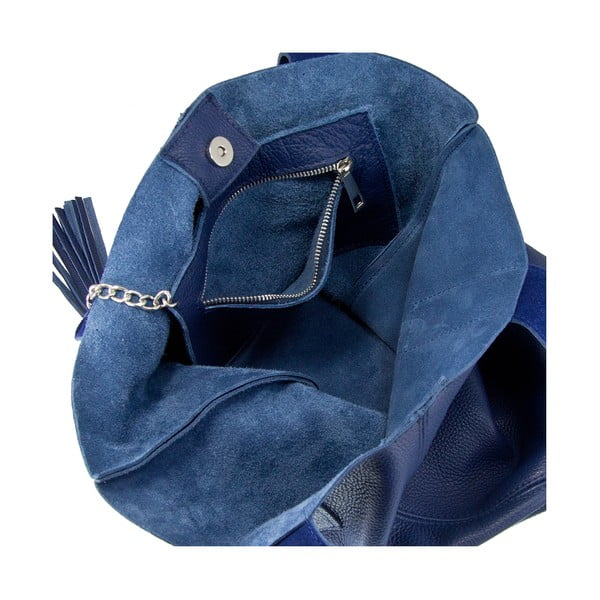 Tmavomodrá kožená kabelka Giorgio Costa Lauretta