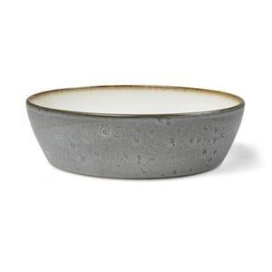 Sivá kameninová servírovacia misa s vnútornou glazúrou v krémovobielej farbe Bitz Mensa, priemer 18 cm