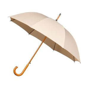 Béžový vetruodolný dáždnik s dreveným madlom Ambiance Wooden, ⌀ 102 cm