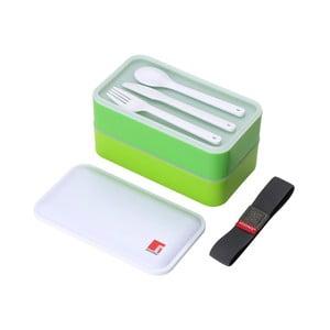 Zelený desiatový box s príborom Bergner Walking