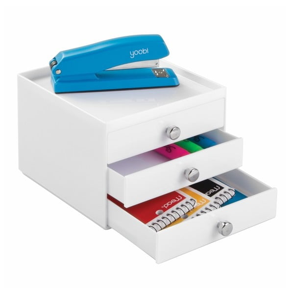 Biely úložný systém InterDesign 3 Drawers Slim