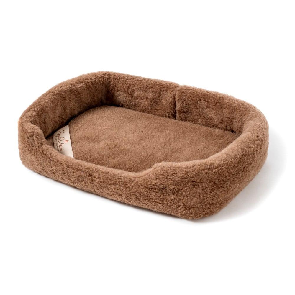 Hnedý peliešok pre psa z merino vlny Royal Dream, šírka 60 cm