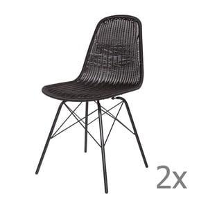 Sada 2 čiernych stoličiek BePureHome Spun