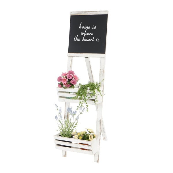 Biely stojan na kvetiny s ceduľou Mendler Shabby Chic