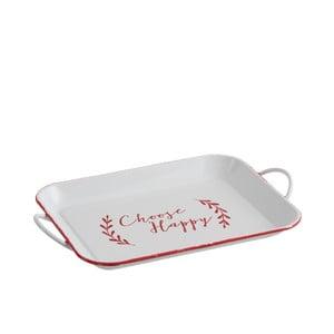 Biely kovový podnos J-Line Choose Happy, 40 x 26 cm