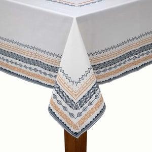 Biely obrus na stôl s čierno-žltým lemovaním s prímesou bavlny Bella Maison, 150×250 cm
