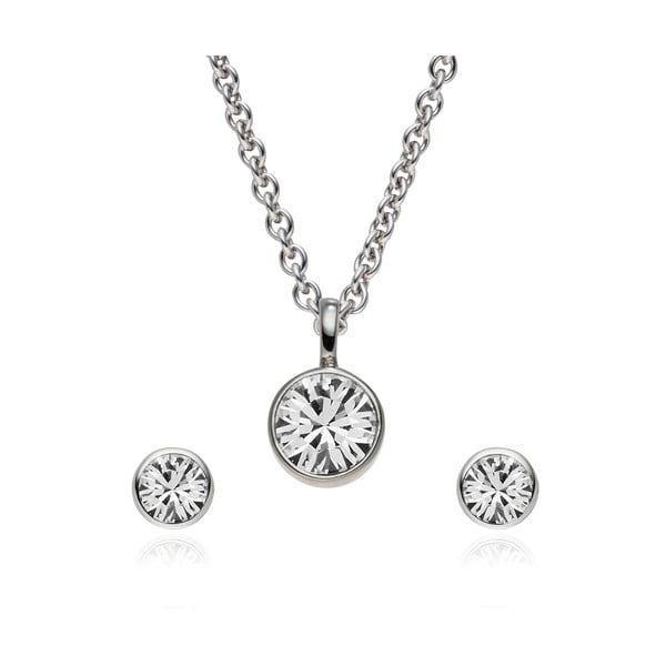 Set náušníc a náhrdelníka Bezel Crystal