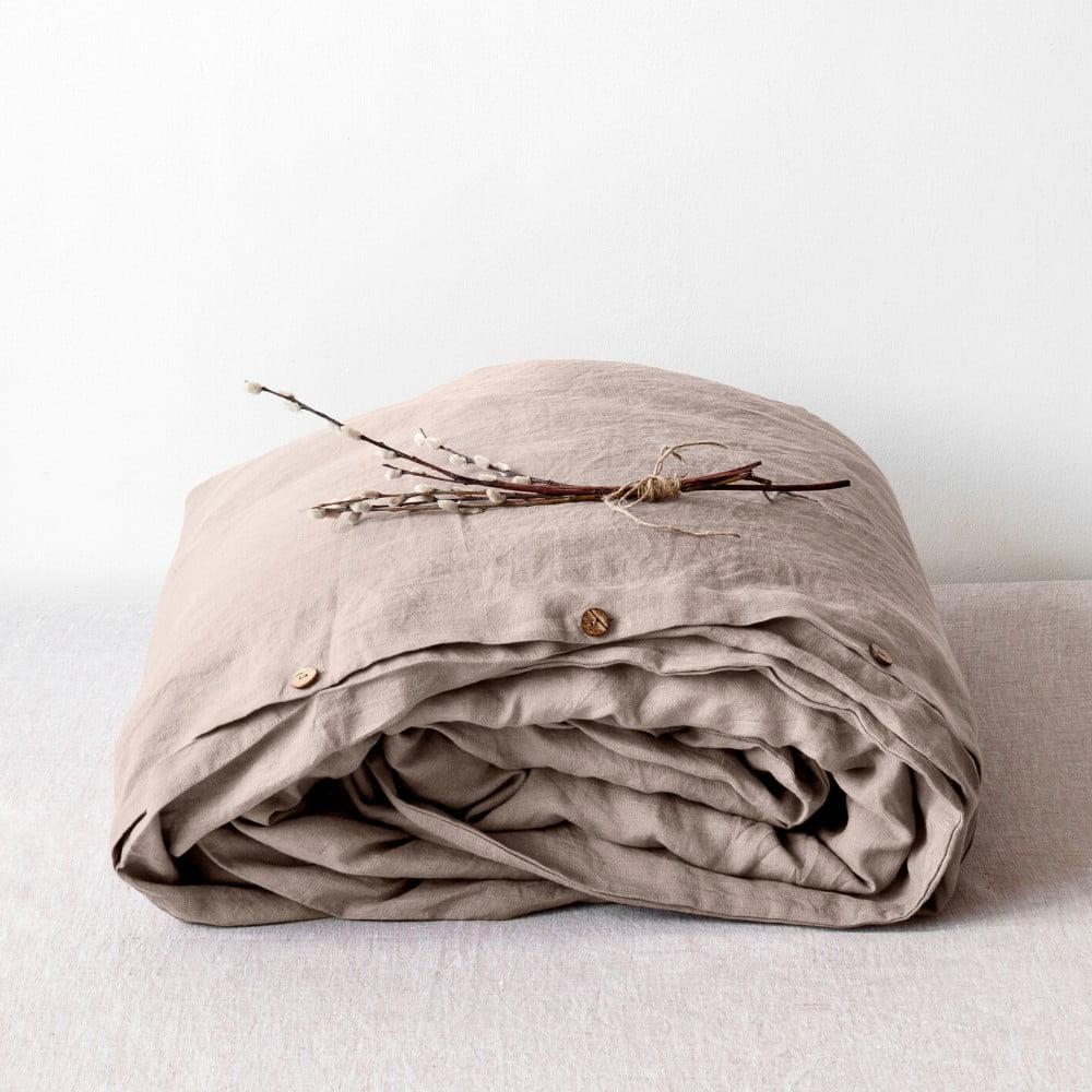 Svetlohnedá ľanová obliečka na perinu Linen Tales, 200 x 200 cm