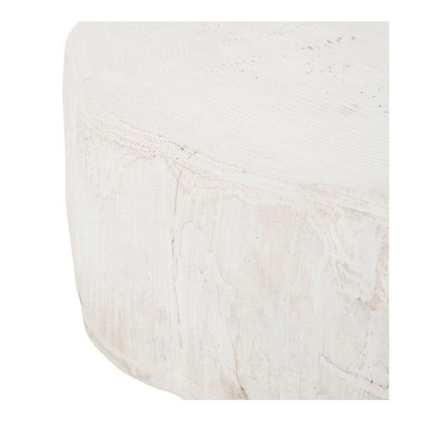 Biely odkladací stolík J-Line Met White, 42 cm