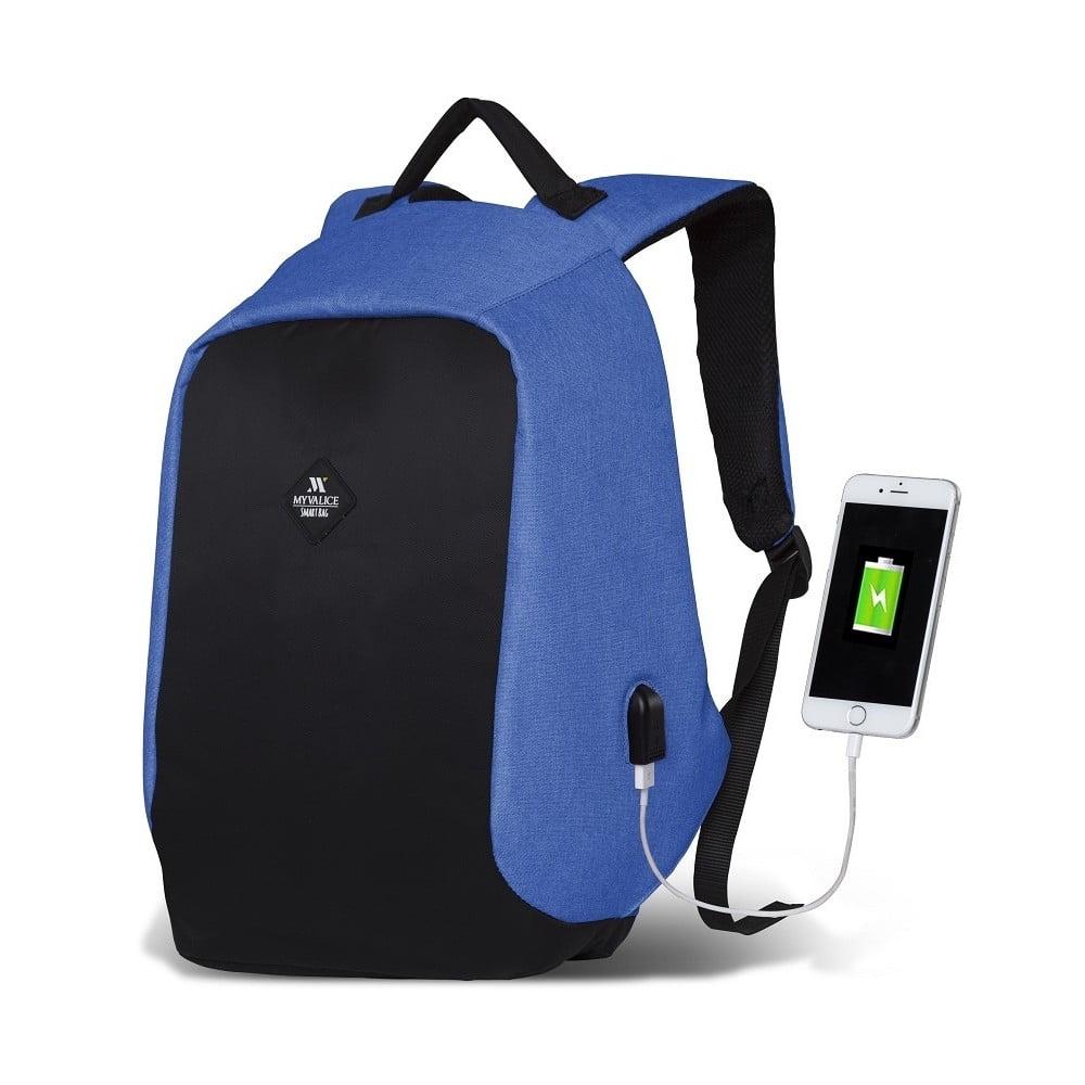 Čierno-modrý batoh s USB portom My Valice SECRET Smart Bag