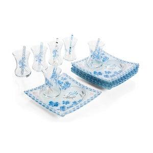 Bielo-modrý 18dielny čajový set Almond